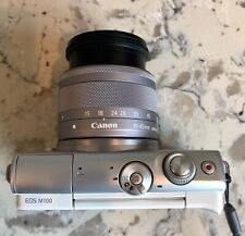 Canon EOS M100 24.2MP Digital Camera - White (Kit w/ EF-M IS STM 15-45mm Lens)