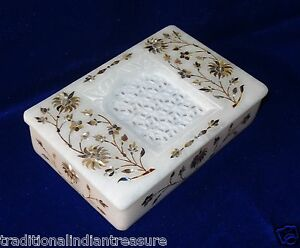 "6""x4""x1.5"" Rectangular Marble Jewelry Box Paua Shell Pietra Dura Marquetry Art"