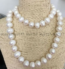 36 Inch HUGE 12-13mm Natural South Sea White Pearl Necklace