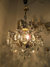 Antique Vnt French Octopus Style Czech Crystal Chandelier Lamp Light 1940s 16in