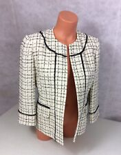NIPON BOUTIQUE White Plaid Blazer Jacket French Cut Women's 6