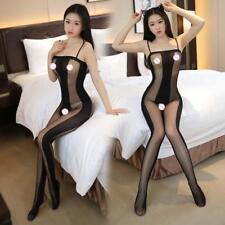 Sexy Lingerie Nightwear Women Open Crotch Fishnet Body Stocking Bodysuit Black