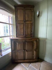 Solid Oak Repro Corner Cupboard Hall Storage Cupboard Cabinet