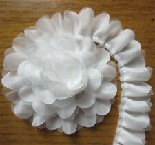 1 yd White Gathered Lace Edge Trim Vintage Bridal Wedding Pleated Ribbon Sewing