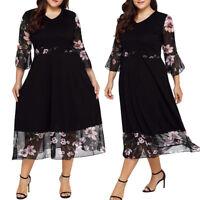 Women Midi Dresses V Neck Wrap Floral Long Sleeve Plus Size Party Prom Dress 5XL