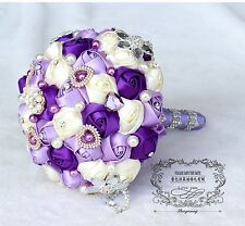 Wedding ribbon artificial flower purple lilac rose bridal bouquet pearl crystal