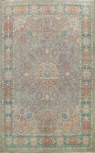 Floral Semi Antique Tebriz Green Hand-knotted Area Rug Wool Oriental Carpet 8x11