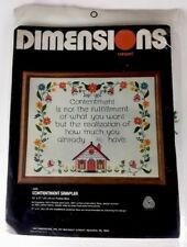 Dimensions Crewel 1225 Contentment Sampler How Much You Already Have Vtg '81 New