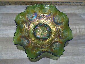 Fenton Carnival Glass Green Dragon & Lotus Bowl