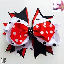 "Polka Dot Hair Bow Premium Stacked -  Red,White,Black Hair Bow/Clip - 5.5"""