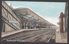 Postcard Northwich Cheshire the Railway Station interior early view