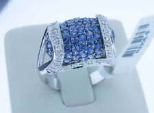 18K White Gold Natural Blue 1.75 Carats Sapphire & White Diamonds Ring Size 6.5
