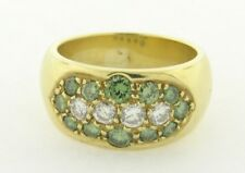 Retro Vintage White and Green Diamonds 18k Yellow Gold Ring
