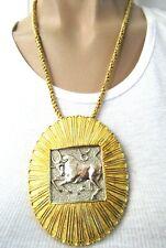 JUDITH LEIBER Zodiac Taurus Bull Shield Pin/Pendant Necklace