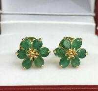 14k Solid Yellow Gold Over Small Flower Stud Earrings Emerald 2.03 Grams