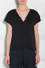 7931214a810cf NEW T by ALEXANDER WANG Black Chain V-Neck Stretch Crepe Cap Sleeve Blouse  Top