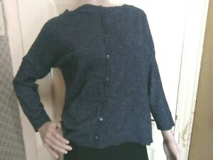 Grey Blue Medium Merino Wool Blend Long Sleeve Cardigan