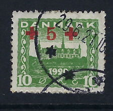 DENMARK:1921 10 ore + 5 ore green  Red Cross Fund  SG214  used