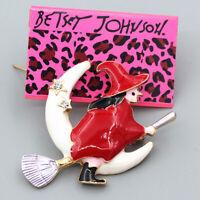 Betsey Johnson Enamel Crystal Moon Stars Witch Broom Charm Women's Brooch Pin