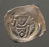 M18-11   Regensburg, Germany  Albert I  (1246-1260AD)  AR Pfennig, shows Bishop