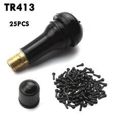 Lot 25 Tr 413 Snap-In Rubber Tire Valve Stems Short Most Popular Valve Black