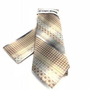 Stacy Adams Men's Tie Hanky Set Beige Charcoal Silver Cream 100% Microfiber