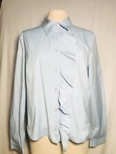 Prada Baby Blue Cotton Blend Ruffle Front Button Down Blouse Size Italian 48
