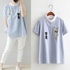 Short Sleeve Tee Blouse Casual Stripe Loose Cat Embroidery Lovely Mori Girl Cute