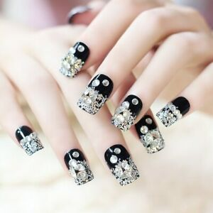 Mysterious Black Crystal Manicure 3D Fake Nails Artificial Long Nails 24Pcs