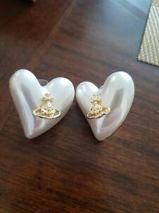 Gold Heart shaped pearl stud Earrings igirl y2k saturn orb