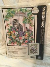 """DIMENSIONS STAMPED CROSS STITCH """" SPRINGTIME VIEW""""KIT DESIGNED BY MARTHA EDWARDS"""