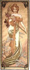 """ALPHONSE MUCHA """"SPRING"""" 60"""" X 25"""" FULLY LINED BELGIAN TAPESTRY WALL HANGING"""