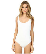 DKNY COVER RING SOLIDS MAILLOT ONE PIECE SIDE DETAILING WHITE SIZE 6 NEW! $118