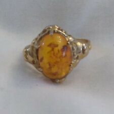 Amber Cabochon Ring set in 14K Gold  - Size 7