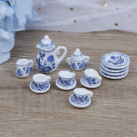 15Pcs 1:12 Dollhouse miniature blue flower tableware porcelain coffee tea cuBDA