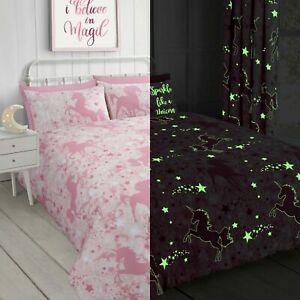 Unicorn Stars Glow In The Dark Kids Bedding Set Duvet Cover Quilt Cover Set