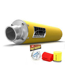 HMF Performance Slip On Exhaust Muffler Yellow Pro Design Foam Filter LTR 450