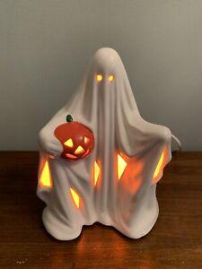 Vintage Halloween Ceramic Lighted Ghost w/ Pumpkin Jack 'o Lantern