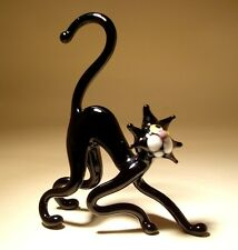 "Blown Glass ""Murano"" Art Figurine Animal Black Cat with a Curved Back"