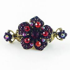 USA Hair Claw Clip Hairpin Rhinestone Crystal Vintage Barrette Flower Red A03