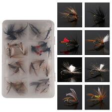 Trout Dry Flies Assortment Fishing Hook Size 8#, 8 Patterns 24 Pcs w/ Clear Box