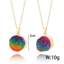 Hot Natural Druzy Quartz Agate Round Pendant Necklace Healing Beads Rainbow Gold Small