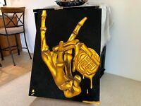 """PRINT Treasure Paintings by JR Bissell: """"Golden Skeleton Hand""""  Pirate Treasure"""