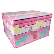 Horse Design Jumbo Storage Chest Pink Pony Big Toy Box 50x30x40cm Folds Flat