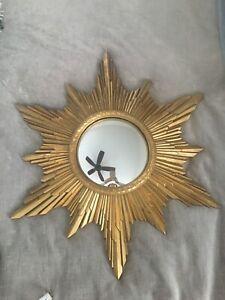 """Vintage Retro Mid Century Modern Gold Sunburst Starburst Convex Mirror 23"""""""