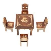 Wooden Dollhouse Table Chair Toy Miniature Furniture Dining Room Kids Toy Gifts