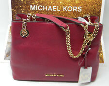New Michael Kors Jet Set Gold Chain Mulberry Medium Messenger Leather Bag