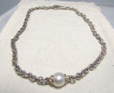 David Yurman Sterling Silver & 18K South Sea Pearl & Diamond Necklace