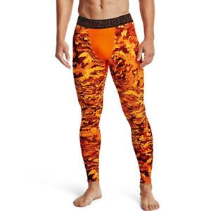 Under Armour UA ColdGear Mens Printed Vibe Orange Gym Sports Training Leggings L