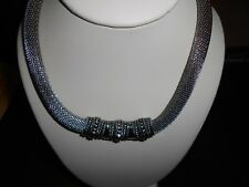 Choker Necklace Chunky Silver Mesh